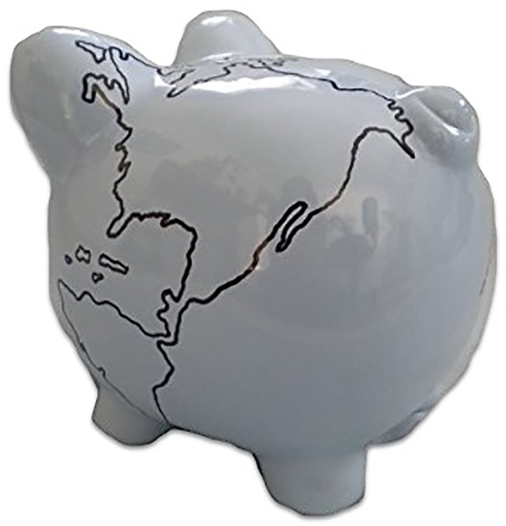 "Completely Custom {8"" x 7.5'' Inch} 1 Single Large, Coin & Cash Bank Decoration for Holding Money, Made of Grade A Genuine Ceramic w/ Geography Globe Piggy Style {Grey & Black}"