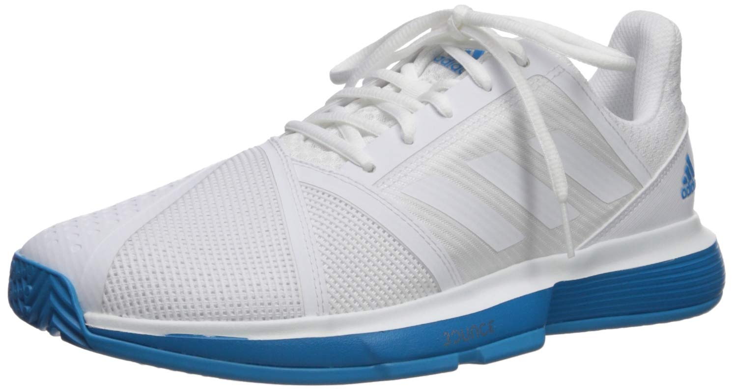 adidas Men's Courtjam Bounce, White/Shock Cyan, 6.5 M US