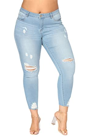 4fc2dd4c3b7 Vanbuy Womens Plus Size Destroyed Skinny Jeans Distressed Ripped Denim Pants  Z157-502-Light