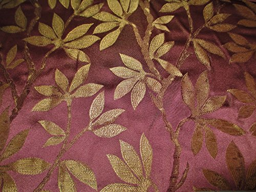 Swatch Sample Fabric Robert Allen Beacon Hill Summer Leaves Blackberry 100% Silk Drapery JJ30 (Summer Hill Fabrics)