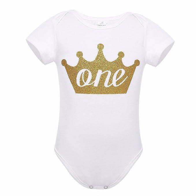 YIZYIF Mameluco Bebé Unisex Infantil Pelele Mangas Cortas Patrón Corona Carta ONE Primara Cumpleaños para Bebé Niños Bebé Niñas: Amazon.es: Ropa y ...