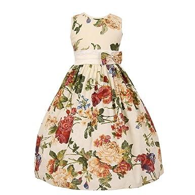 a50e81804eab Amazon.com  Shanil Little Girls Burgundy Floral Print Bow Attached ...