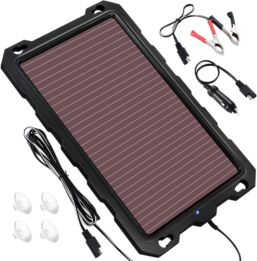 POWOXI Solar Battery Charger Car, 3.3W 12V Solar Trickle Charger for Car Battery, Portable and Waterproof Solar Battery Maintainer, Amorphous Silicon Solar Panel car Battery Charger