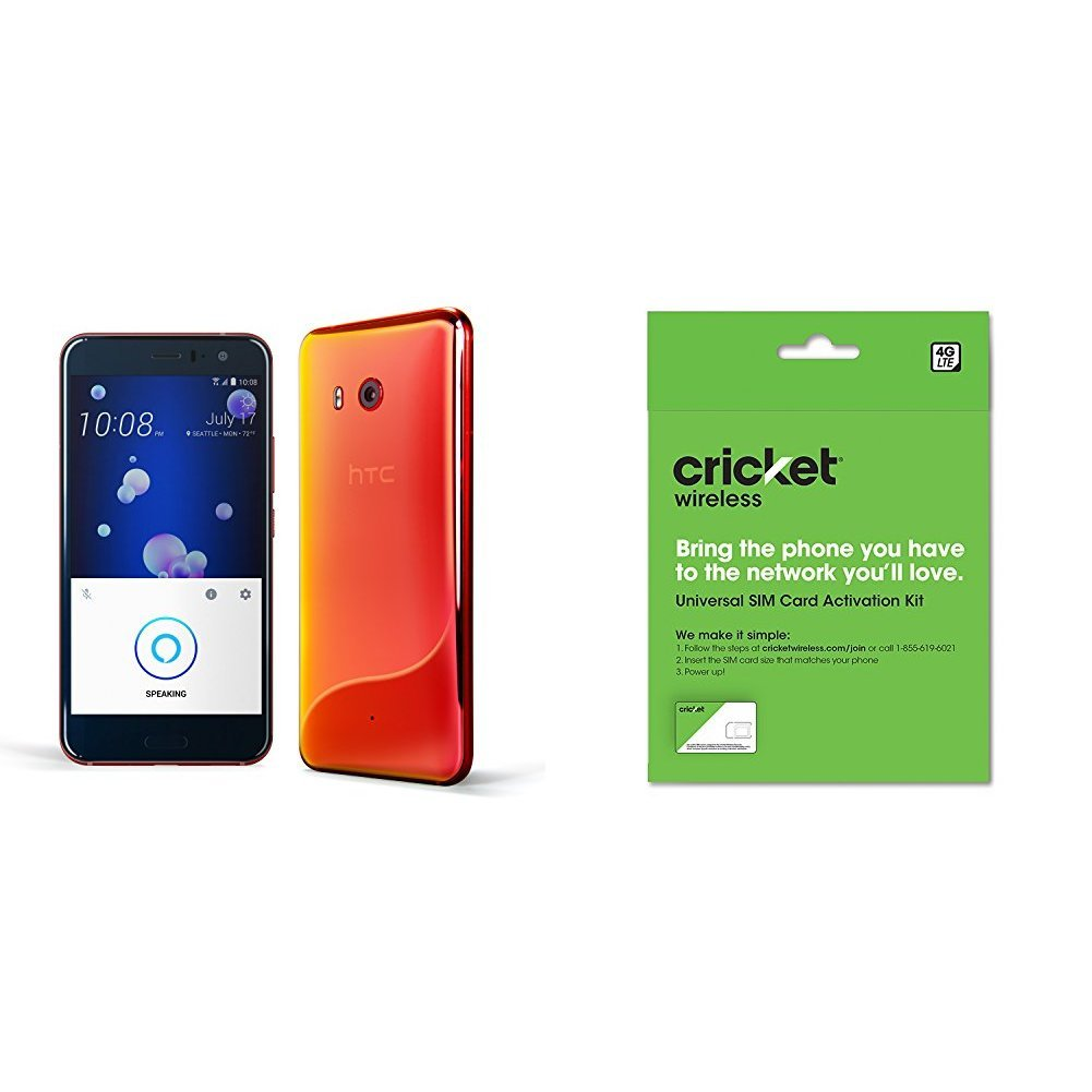 HTC U11 with hands-free Amazon Alexa – Factory Unlocked – Solar Red and Cricket Wireless BYOD Prepaid SIM Card by
