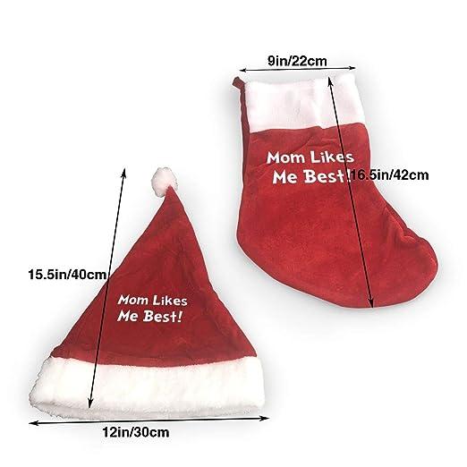 4510b9d2a3e22 Amazon.com  LLFR DHAT Mom Likes Me Best Santa Hats for Holiday Christmas  Xmas