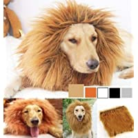 SUNREEK Large Pet Dog Cat Lion Wigs Mane Hair Festival Party Fancy Dress Clothes Costume (Golden)