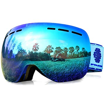 cf8694775e83 Snowledge Ski Snowboard Goggles Men with Frameless Interchangeable Lens  Spherical Design