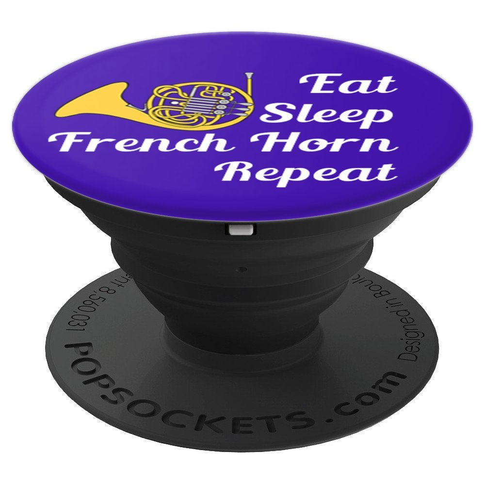 French Horn Player Gift Eat Sleep French Horn Repeat - Blue - PopSockets Grip and Stand for Phones and Tablets