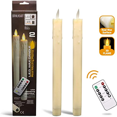 Window Candles Flameless LED Taper Candles Flickering Dancing Flame,9 Dripless Real Wax Electric Candle with Timer Function, Decoration Wedding Dinner Table, Ivory, Pack of 2