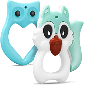 Baby Newborn Cartoon Animal Soft Silicone Teethers Toddler Teething Relief Toys
