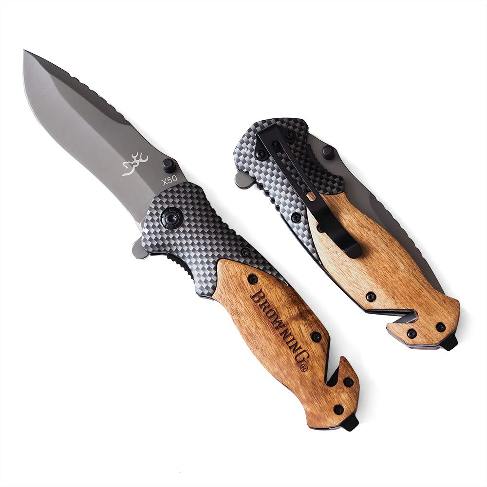 Browning Knives X50 Tactical Folding Knife, Wood + Carbon Fiber Handle, Blade 440C 57HRC EDC Camping Survival Pocket Folding Knife