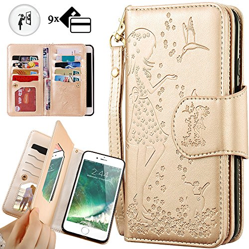 (iPhone 6S Wallet Case,iPhone 6 Mirror Case,Auker Folio Flip PU Leather Wallet Case with Trifold 9 Card Holder Hidden Wallet&Magnetic Closure Cash Pocket Purse for Women for iPhone 6/6S (Gold))