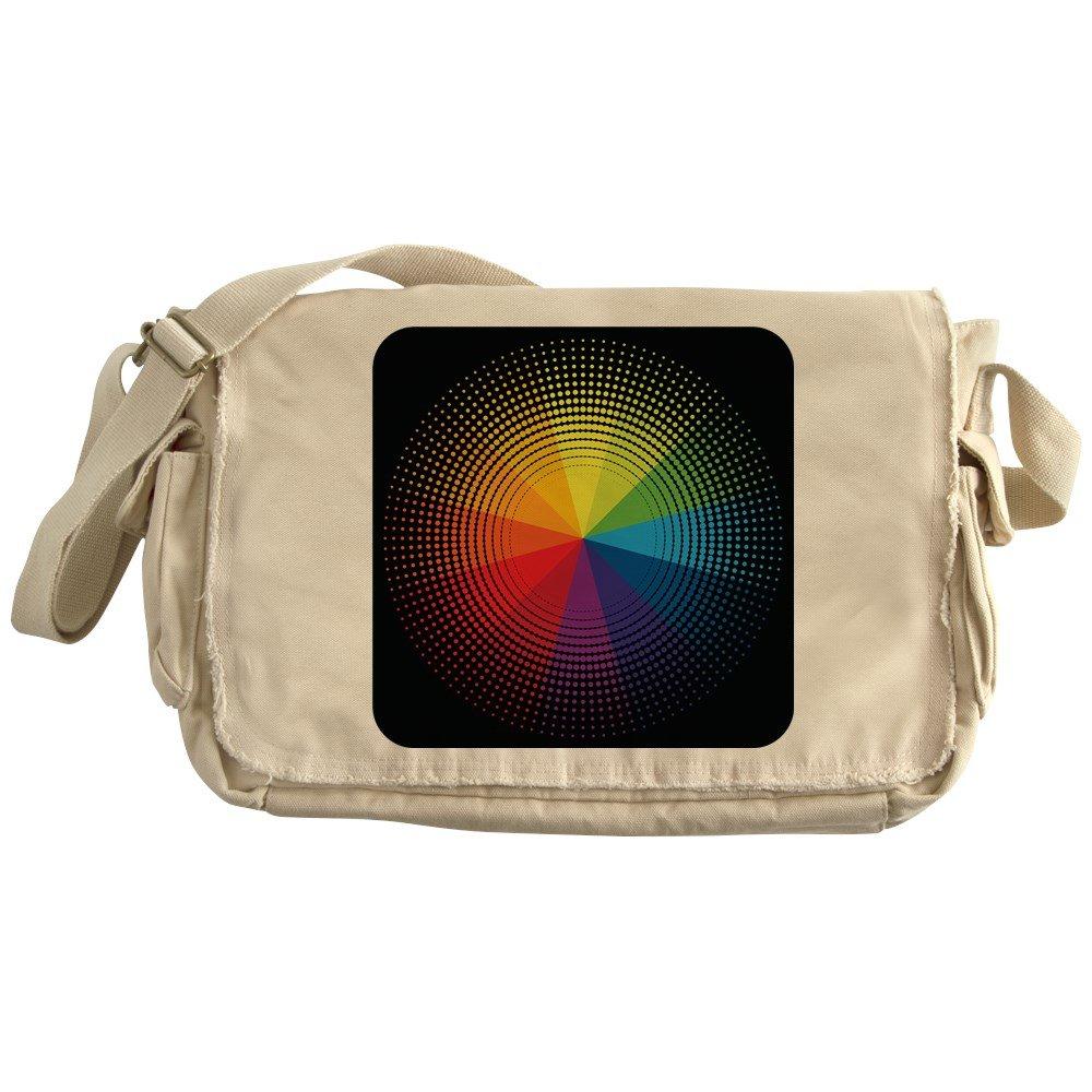 Royal Lion Khaki Messenger Bag Artist Rainbow Color Wheel