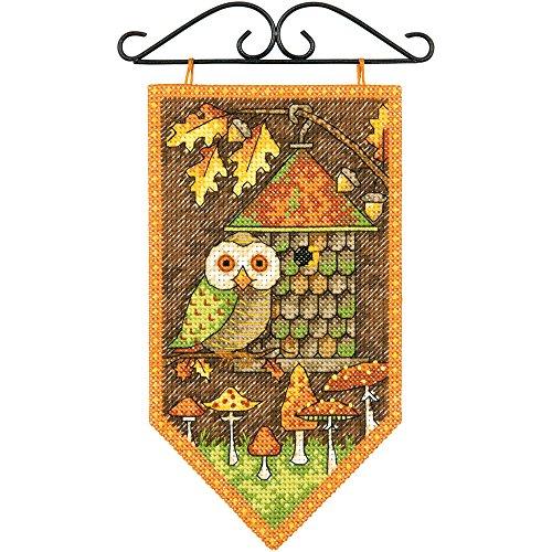 Dimensions Counted Cross Stitch Kit, Fall Owl Seasonal Autumn Banner Cross Stitch Kit, 5'' x 8'' Banner Counted Cross Stitch