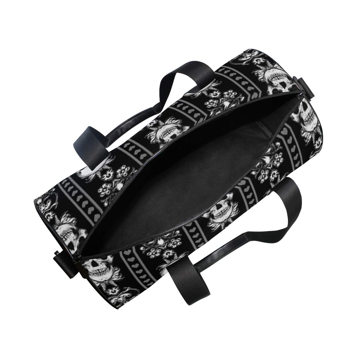 Sports Gym Duffel Barrel Bag Baroque Skull Stripe Gothic Black Travel Luggage Handbag for Men Women