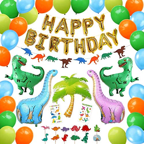 Ultimate Dinosaur Party Supplies, 92 Pack Dino Theme Birthday Decorations Set for Boys and Girls - Cake Toppers, Inflatable T-Rex, Banner, Jurassic Garland, Jungle Balloons, Kids Tattoos - PartyBuzz
