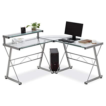 finest selection cfe29 0df27 Amazon.com : 2 Tier L-Shaped Corner Computer Desk with ...