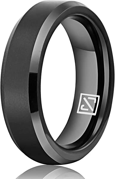 MEN 8mm Black TUNGSTEN comfort fit ring size 10 or 10.5 Wedding Band!