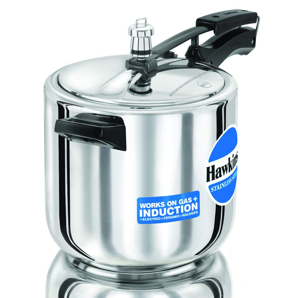 Hawkins Stainless Steel Induction Compatible Pressure Cooker, 6 Litre, Silver (HSS60)