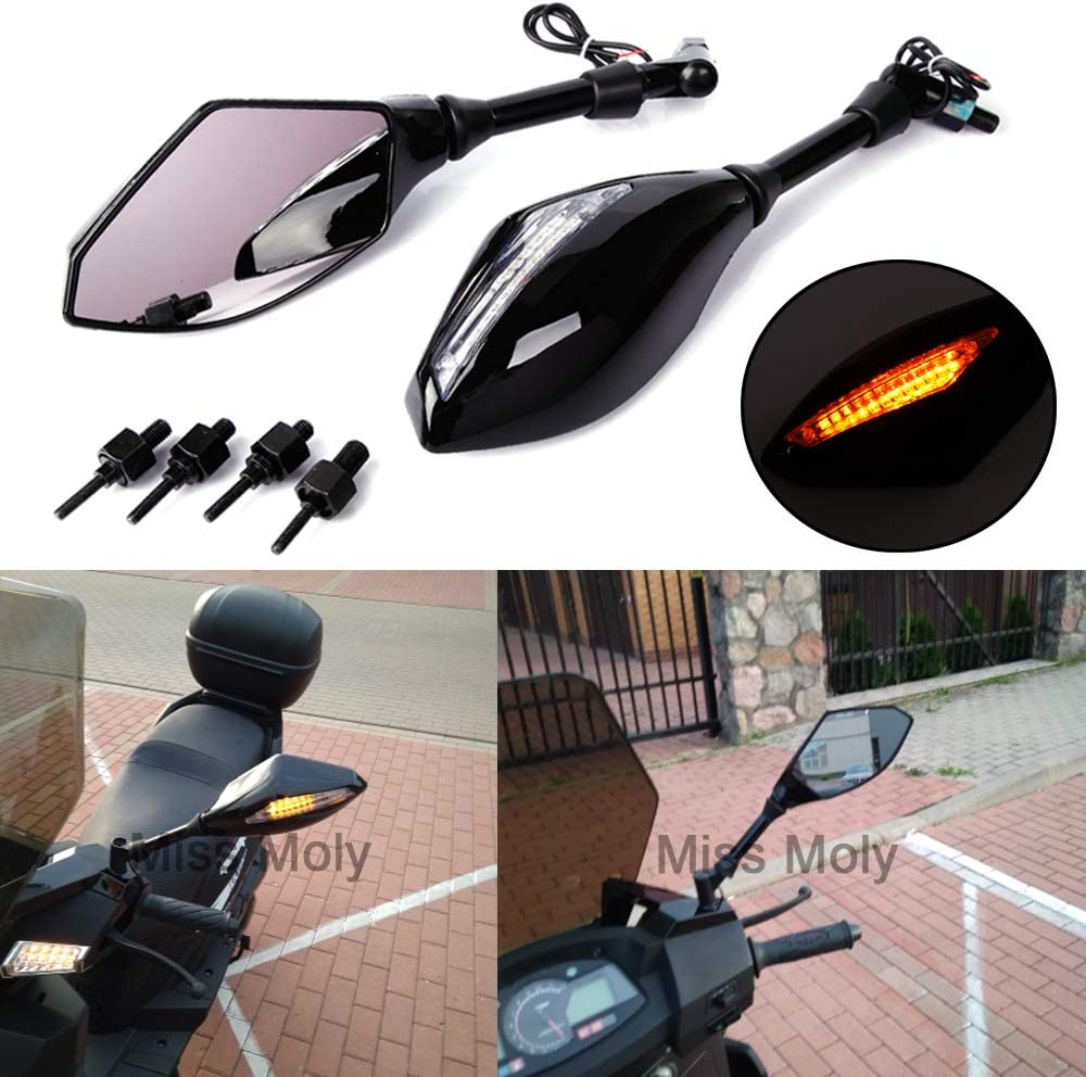 Matte Black+Smoke Lens 10mm 8mm Motorcycle Racing Rear View Side Mirrors with LED Turn Signals for CBR GSF KLX V-Max FZ6 XJ6
