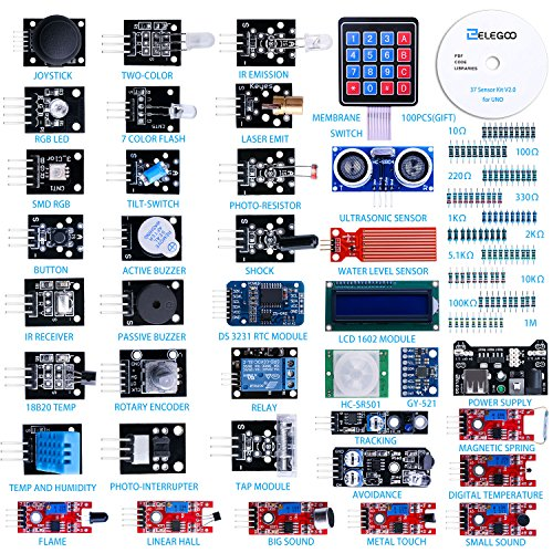 (ELEGOO Upgraded 37 in 1 Sensor Modules Kit with Tutorial for Arduino UNO R3 MEGA 2560 Nano)