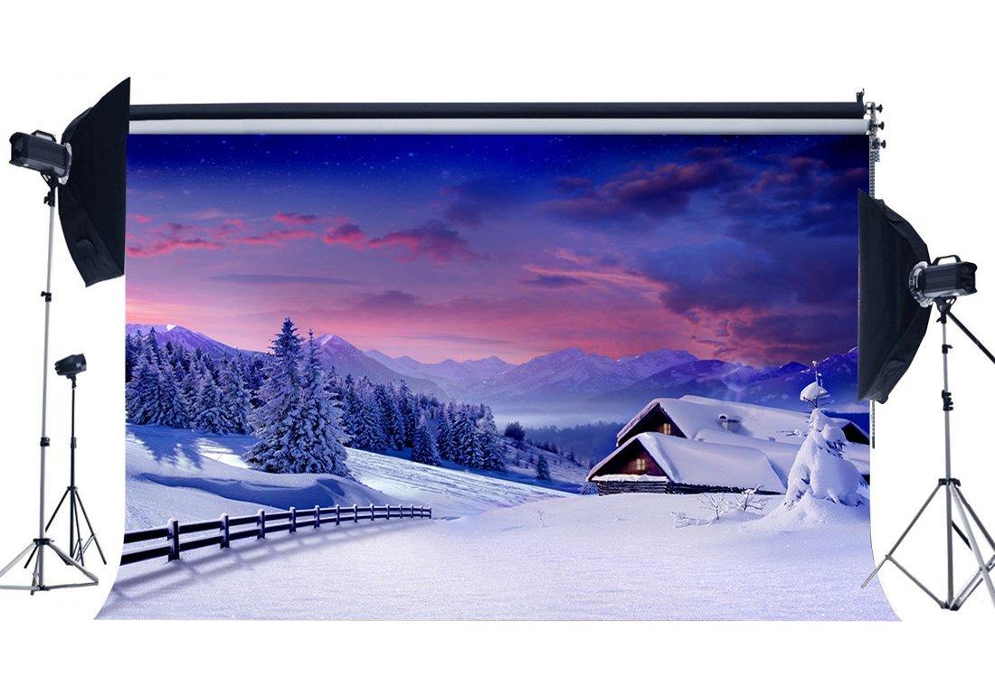 gladbuy Snow Mountainバックドロップ10 x 8ftビニールRural村冬Heavy Snow Backdrops Pine Treesクリスマス写真撮影背景for Family Together Greeting Happy New Yearフォトスタジオ小道具kx856   B07F892JHQ