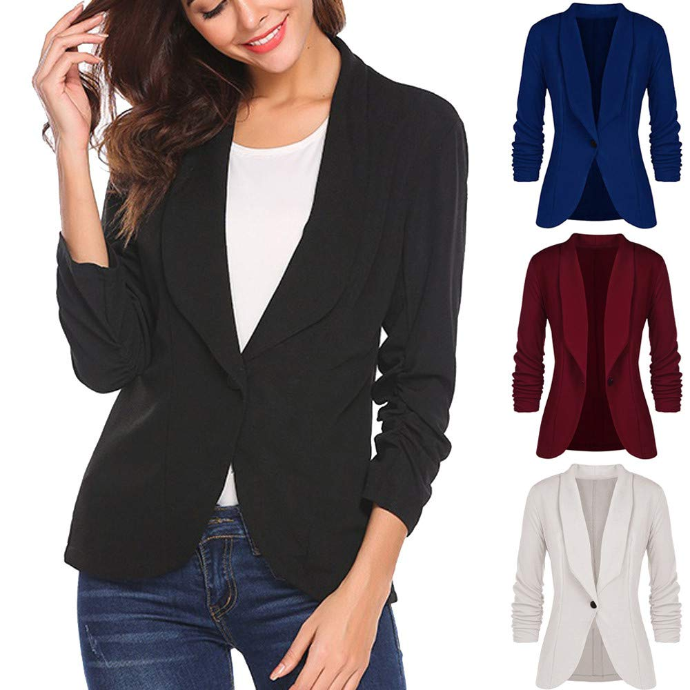 Chanyuhui Women OL Style Sweatshirt Lady Solid Button Open Cardigan 3/4 Sleeve Blouse Business Jumper Coat Suit Blouse Tops at Amazon Womens Clothing store ...
