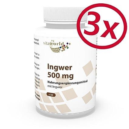 Pack de 3 Extracto de Jengibre 500mg 3 x 120 Cápsulas Vita World Farmacia Alemania