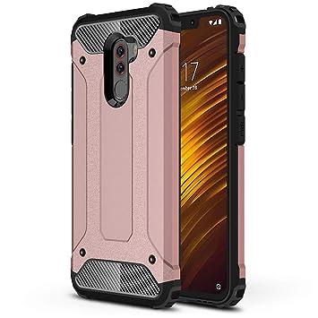 HUUH Funda Xiaomi Pocophone F1 Carcasa Caja de teléfono móvil, combinación TPU + PC, Hermosa Mano de Obra(Rosado)