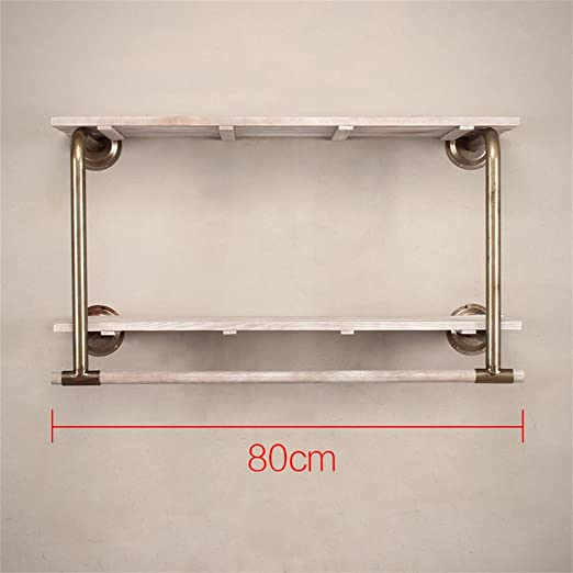 Wall Coat Rack Clothing Display Rack Clothes Hook Shelf for Cloakroom Clothing Store White Easy to Install ZZBBZZ-YJ DIKA UK Coat Racks wooden Size : 120CM