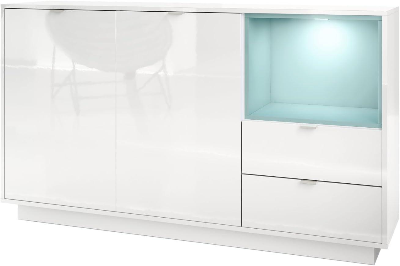 INCL Vladon Buffet Armoire Metro L/éclairage LED Corps en Blanc Haute Brillance//Fa/çades en Blanc Haute Brillance avec Une Insertion en Aspect B/éton Oxyde