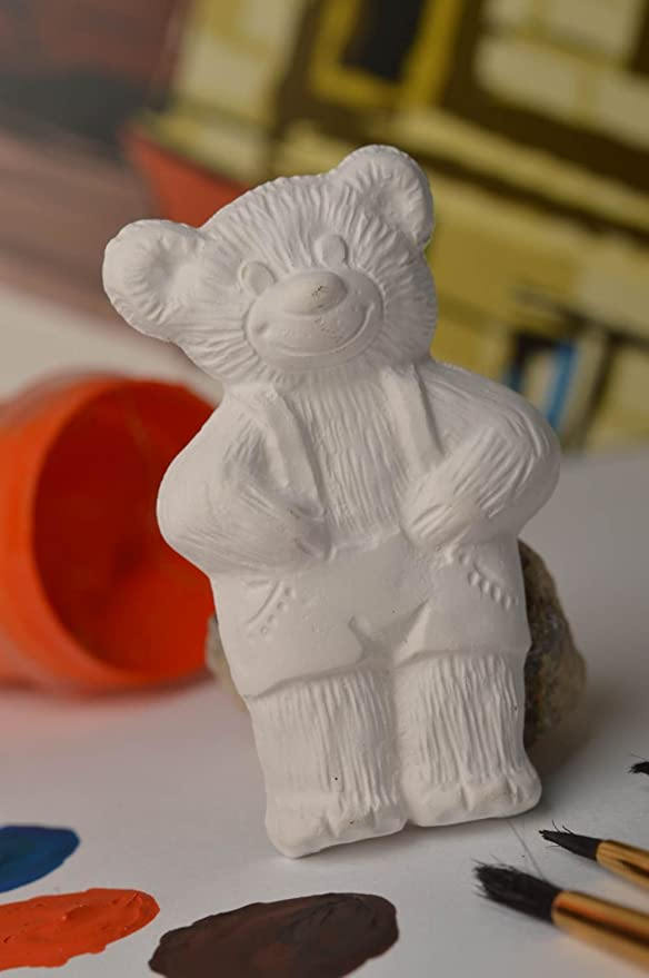 Imán Nevera hecho a mano figura de pintar Oso de yeso manualidades ...