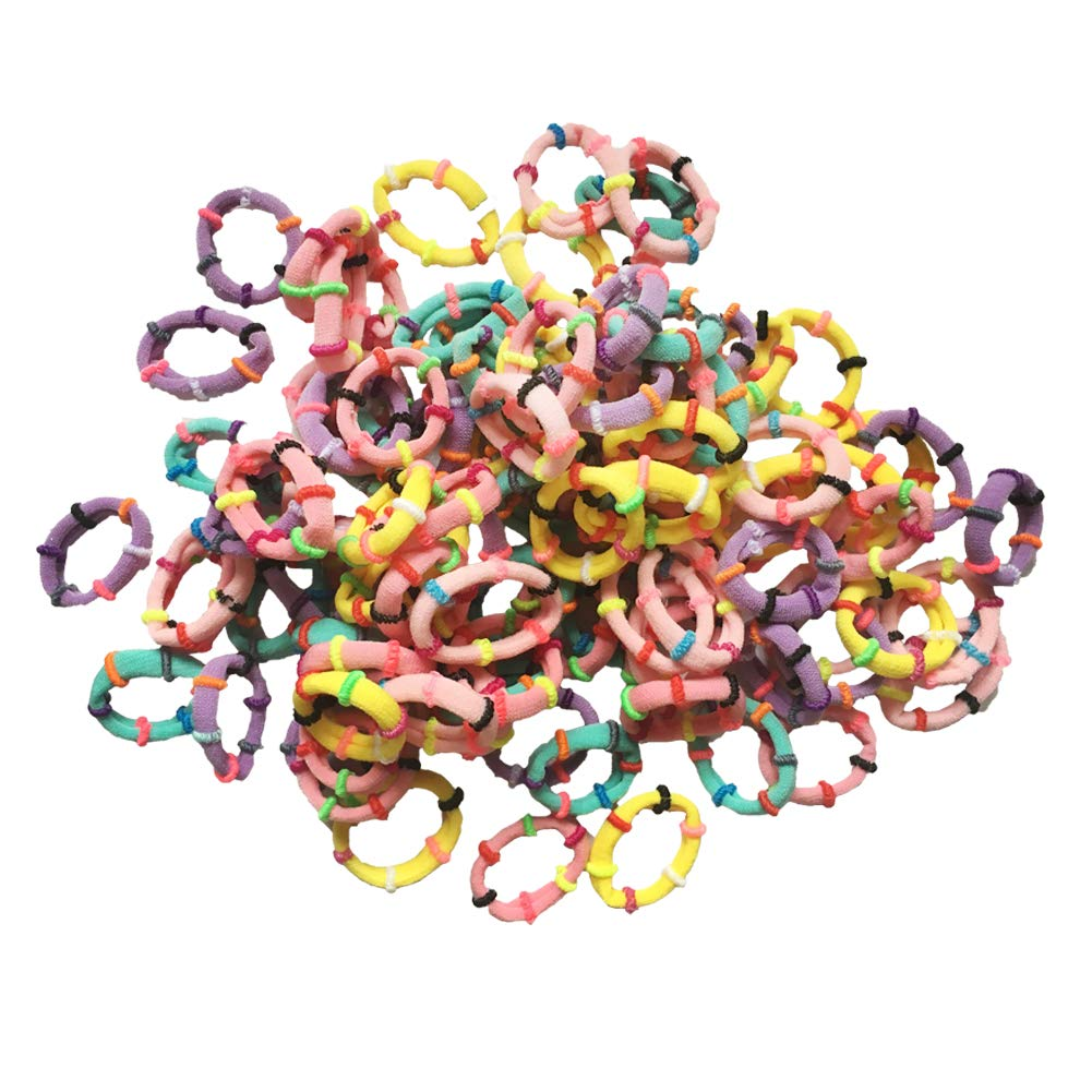 KWJOY Seamless 2.5cm in Diameter Elastic Cotton Hair Ties Bands for Baby Girl Very Thin & Fine Hair,Small Size Hair Band Holders(100pcs) (Mix Color as Shown)