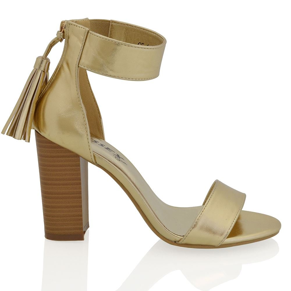 ESSEX GLAM Womens Block Heel Tassel Ankle Strap Peep Toe Synthetic Sandals Shoes