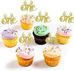 One CupCake Topper,Gold Glitter Christmas CupCake Topper, First Birthday Cake Topper with Antlers for 1st Birthday Party Decoration, Winter 1st Birthday Cake Topper Decor