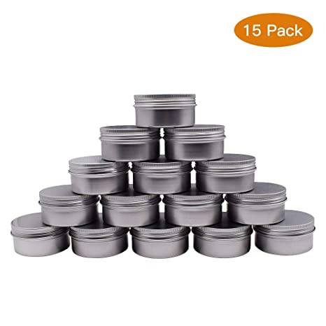 0277caf2d8b1 Healthcom 3 oz 15 Packs Round Aluminum Tin Cans Screw Top Metal Steel Tins  Empty Slip Slide Round Containers Bulk Storage Organization for Lip ...