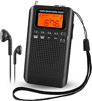 Mini Am FM Radio Digital portátil con Reloj Despertador y Temporizador de Apagado automático, Altavoz o Auriculares para Interiores o a pie: Amazon.es: Electrónica