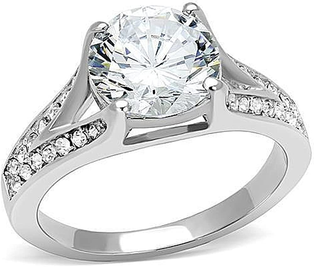 Nationalonlinediscounts Marquise Cubic Zirconia Cz with Round Accents Stainless Steel Ring Sizes 5,6,7,8,9 /& 10