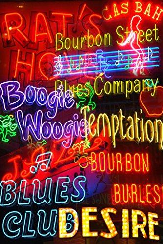 New Orleans NOLA French Quarter Bourbon Street Illuminated Neon Signs Photo Photograph Cool Wall Decor Art Print Poster 24x36