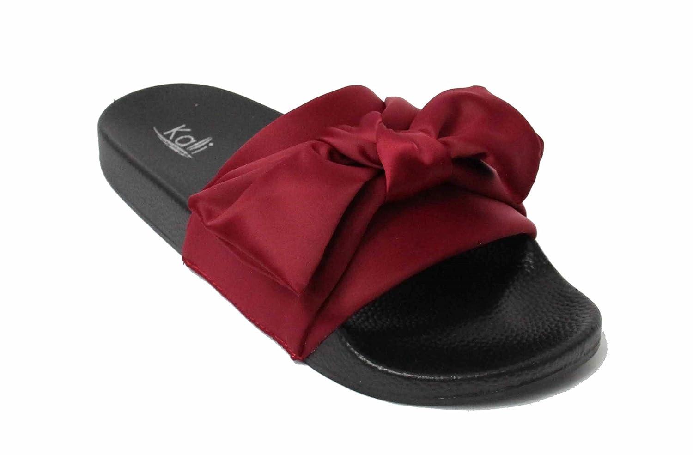 Kali Footwear Womens Satin Bow Ribbon Tie Knotted Soft Comfort Slip on Slide Sandal