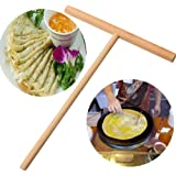 1 Pcs T shape Wooden Rake Round Batter Pancake Crepe Spreader Kitchen Tool Kit by UBOOMS