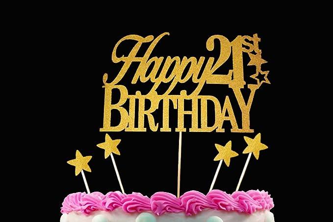 Outstanding Happy 21St Sparkling Gold Cake Topper Plus 4 Bonus Stars Birthday Funny Birthday Cards Online Barepcheapnameinfo