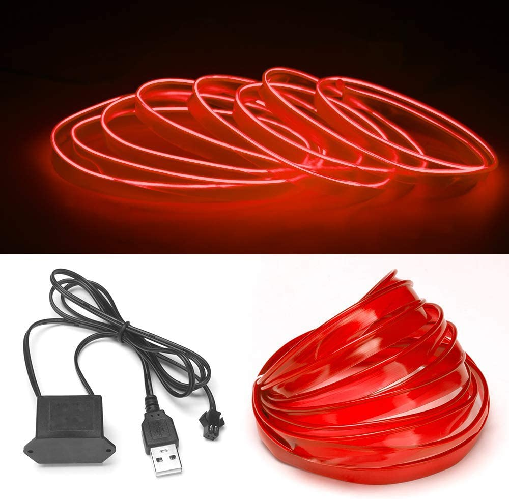 Red USB Neon LED Light Glowing Electroluminescent Wire//El Wire for Automotive Interior Car Cosplay Decoration with 6mm Sewing Edge 3M//9FT