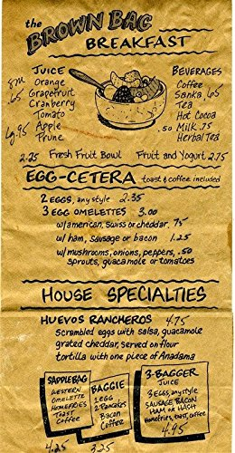 The Brown Bag Restaurant Breakfast Menu Printed on a Brown Paper -
