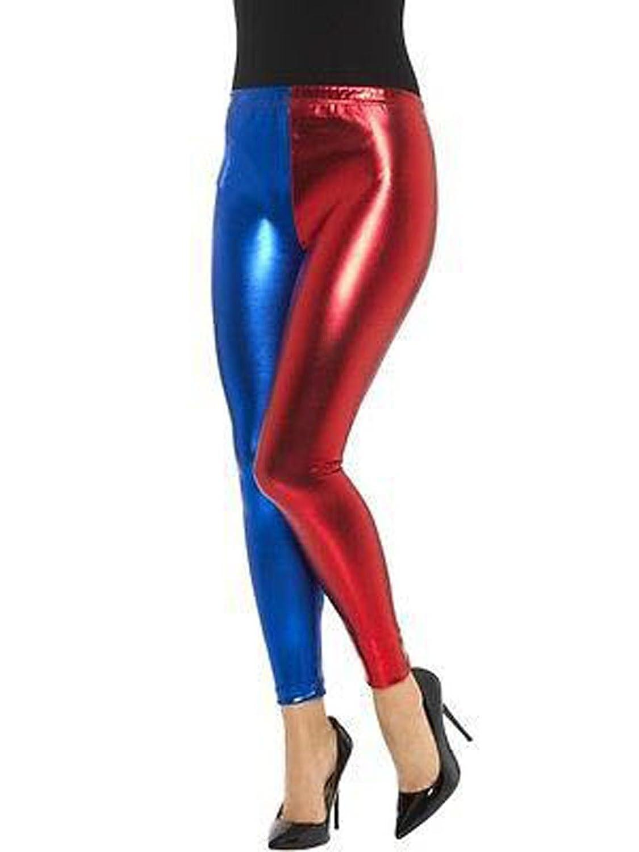 Women Red/&Blue Metallic Shiny Harley Quinn Suicide Squad Leggings Pants Costume