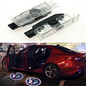 Car Door LED Light Ghost Shadow Projector Welcome Lamp Logo Light for Alfa Romeo Series (2 Pack)