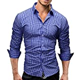 korean men clothes - Wrinkle Free Shirts Men Slim Fit Casual Long Sleeve Dress Shirt Solid Fashion with Design Button Up Korean Style Size XL
