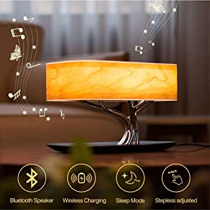 ZEEFO Bedside Table Lamp Built-in Bluetooth Speaker and Wireless Charger, Stepless Dimming Touch Desk Lamp with Sleep Mode Function Ideal for Bedroom, Office, Living Room