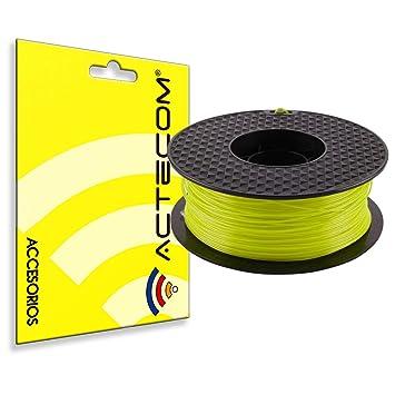 ACTECOM® FILAMENTO PLA Impresora 3D Bobina 1,75MM 1KG Amarillo Transparente 24H