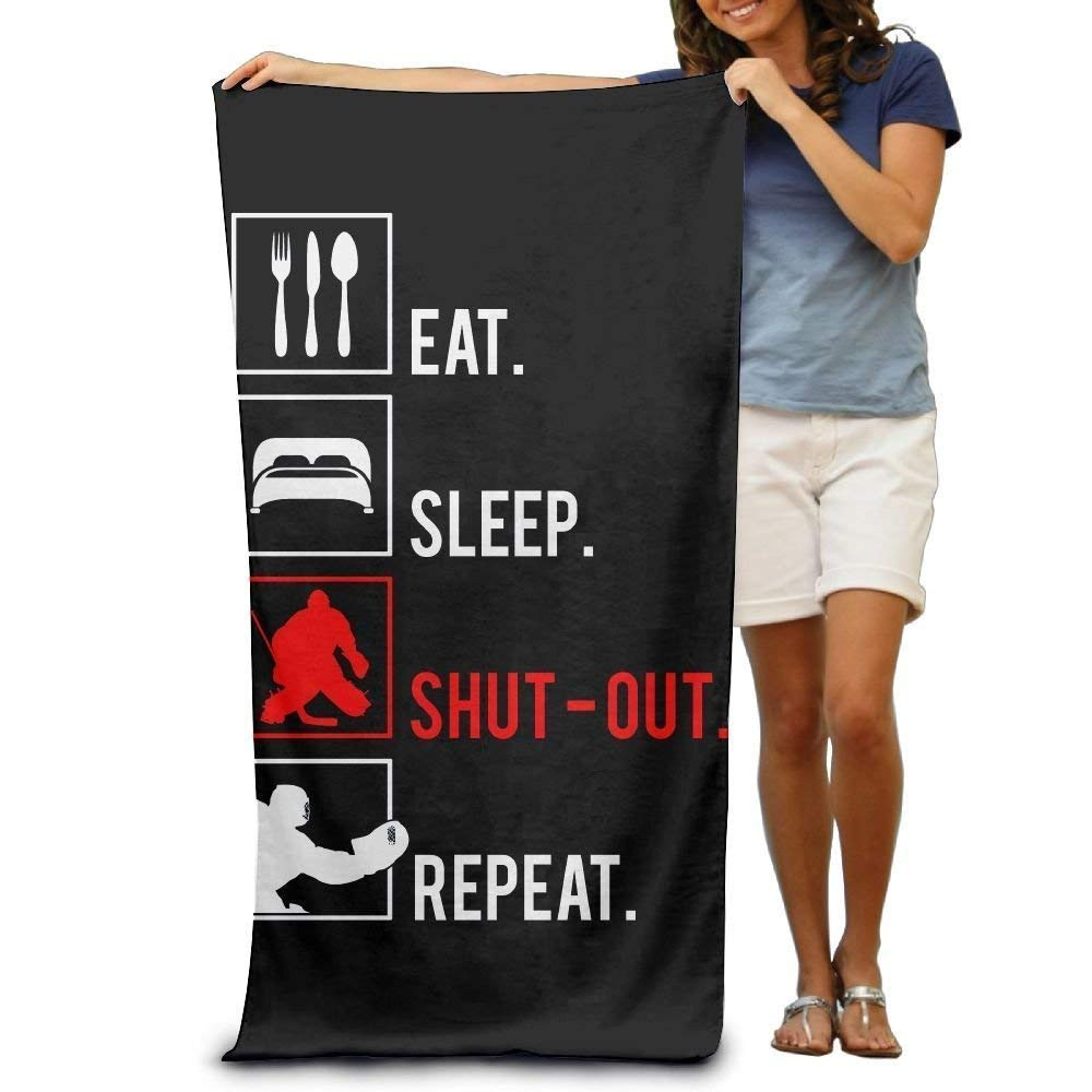 Super Absorbent Beach Towel Eat Sleep Hockey Repeat Polyester Velvet Beach Towels 31 X 51 Inch DEFFWBb